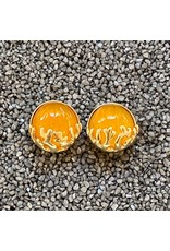 VC Italy Round Yellow and Gold  Clip Earring