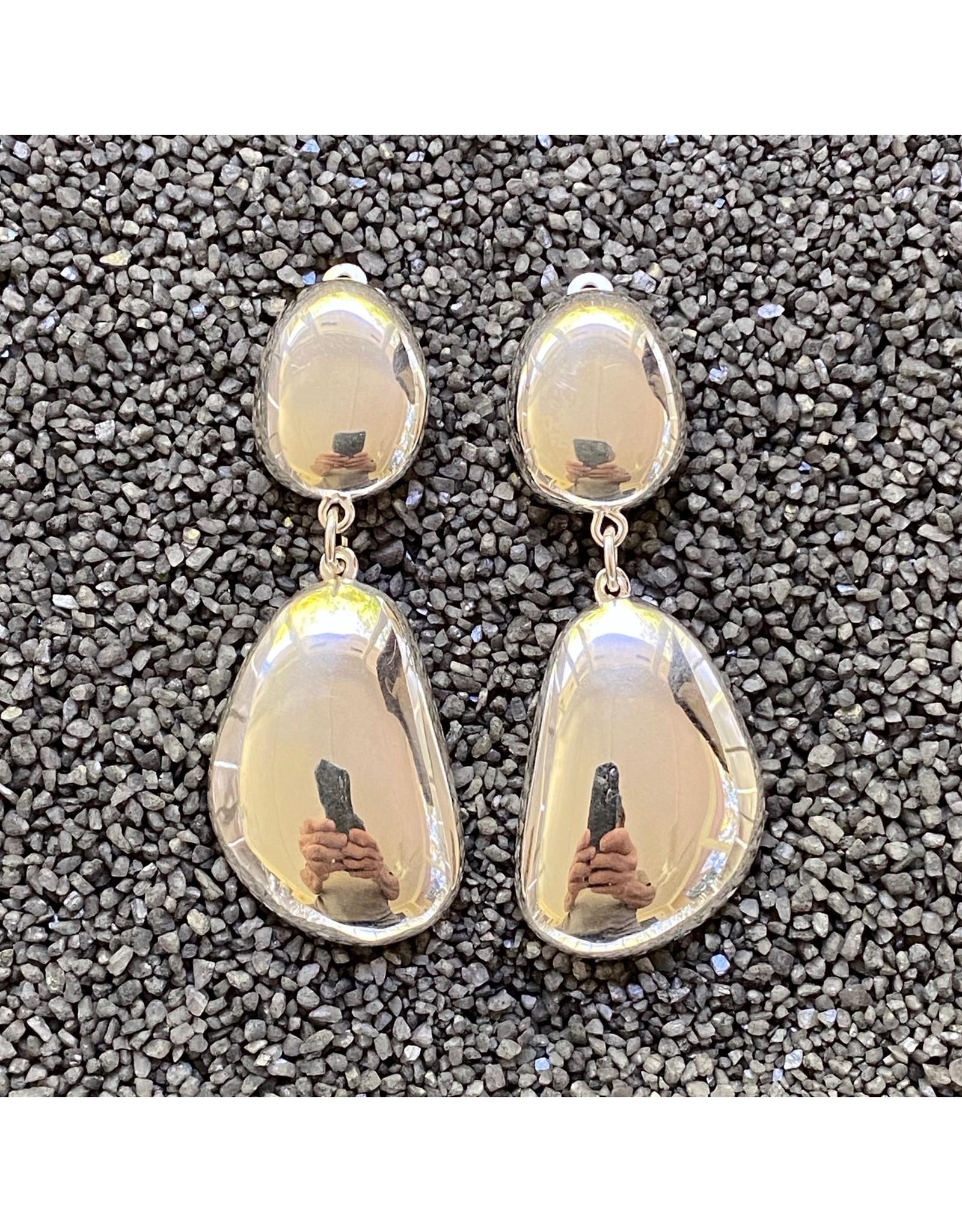 Simon Sebbag Designs Smooth Silver Abstract Drop Clip Earring