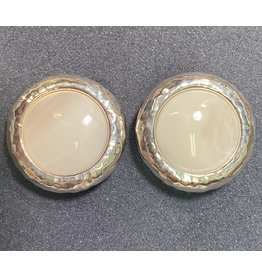 Simon Sebbag Designs Hammered Round Mother of Pearl Clip Earring