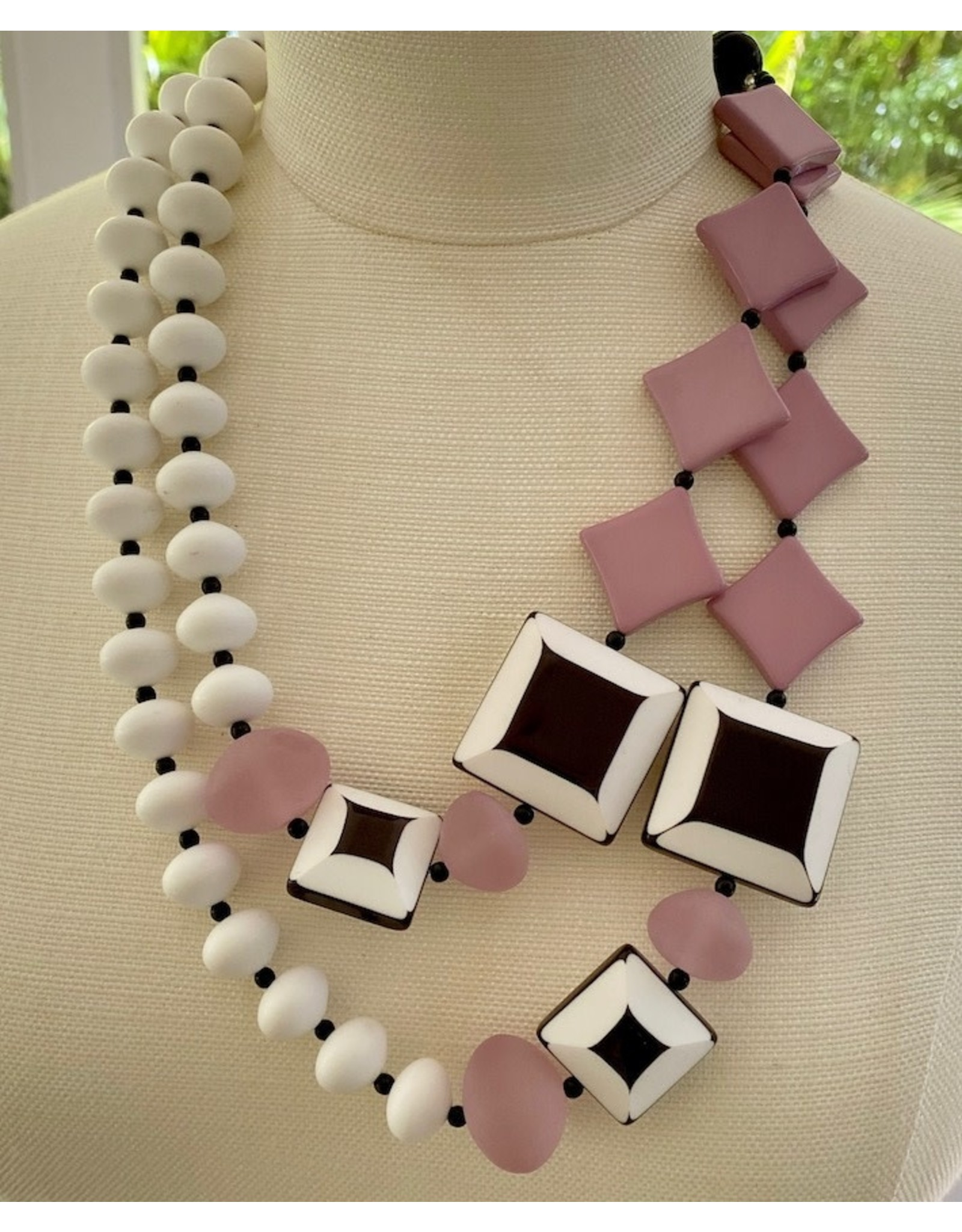 Cristina Defalco Double Strand, Pink and White heads w/ Black White Squares