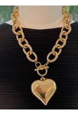 """Kenneth Jay Lane 18"""" Gold Chain, 2"""" Heart Pendant Necklace"""