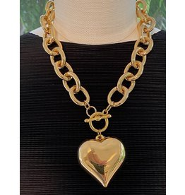 "Kenneth Jay Lane 18"" Gold Chain, 2"" Heart Pendant Necklace"