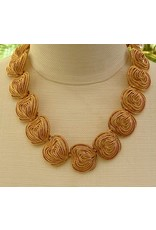 Kenneth Jay Lane Satin Gold Textured Clusters Necklace