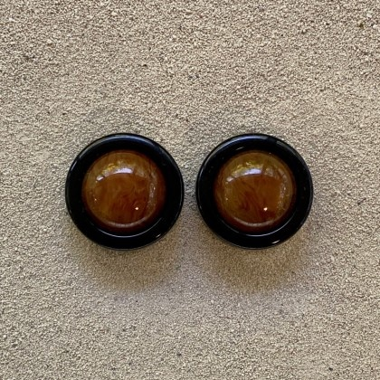 Amber and Black Clip Earring