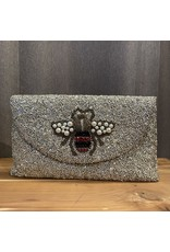 Tiana Designs Bee Metalic Beaded Clutch