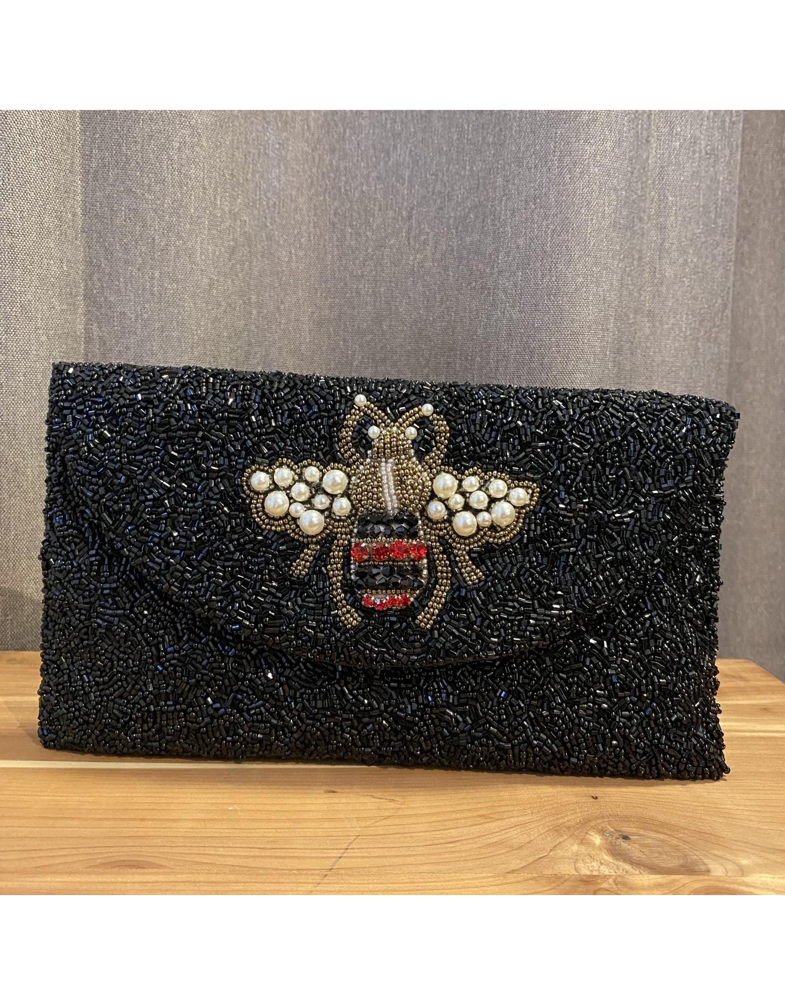 Tiana Designs Bee Black Metalic Beaded Clutch