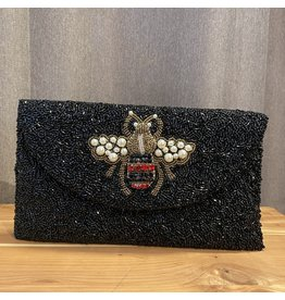 Tiana Designs Bee Black Metalic Beaded Clutch