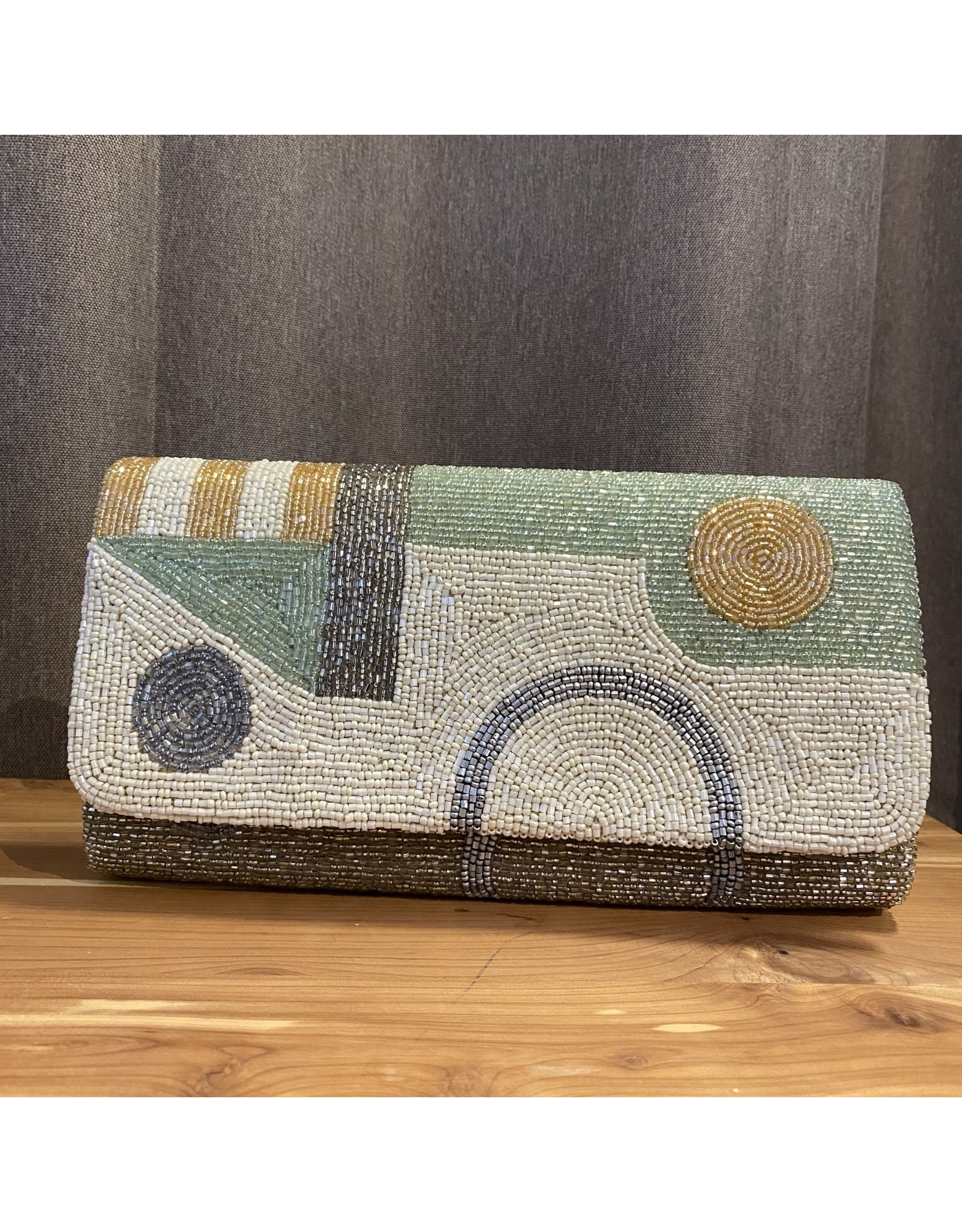 Tiana Designs Metalic with Mint Green Beaded Clutch