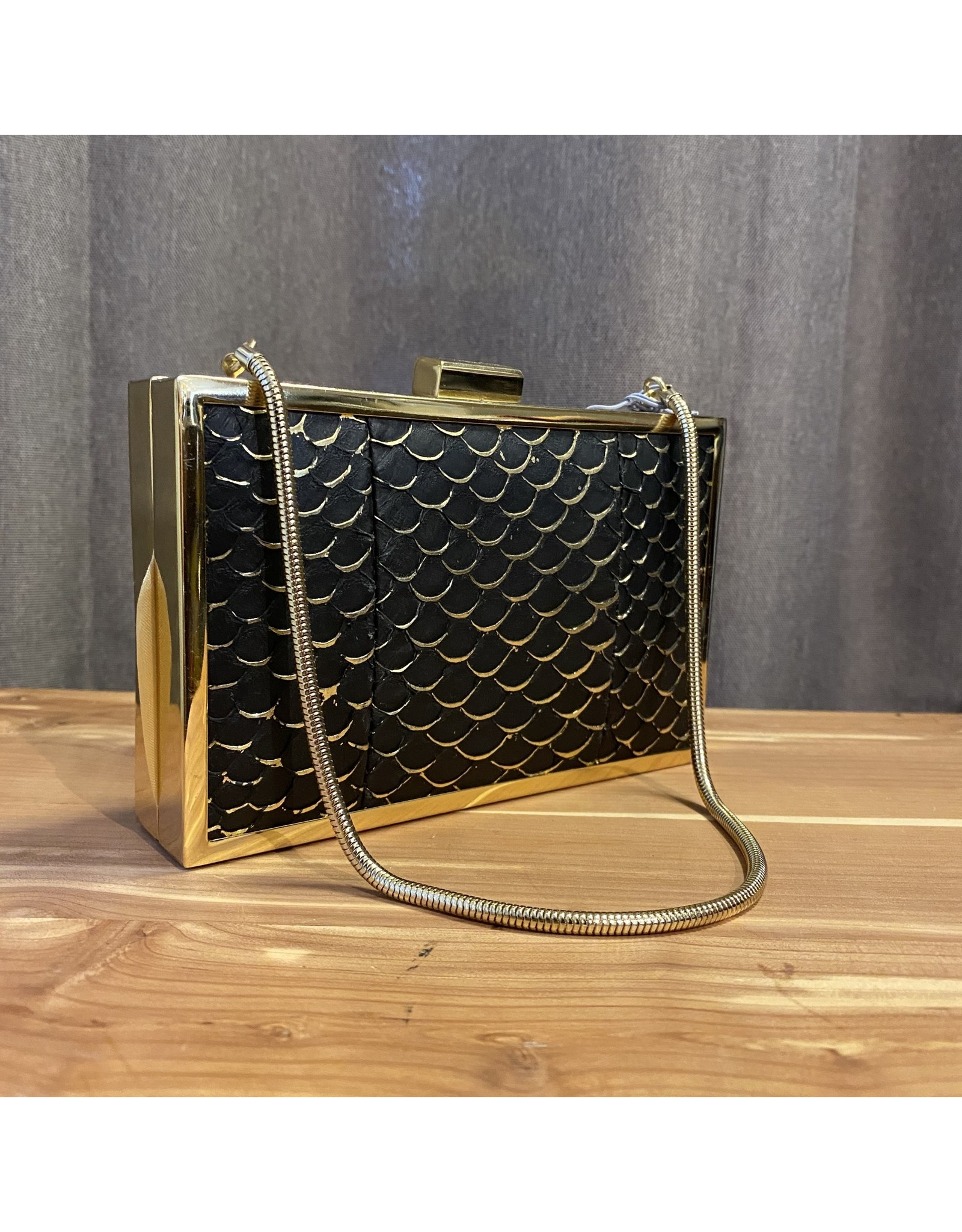 Inge Christopher Corsica Black and Gold Clutch