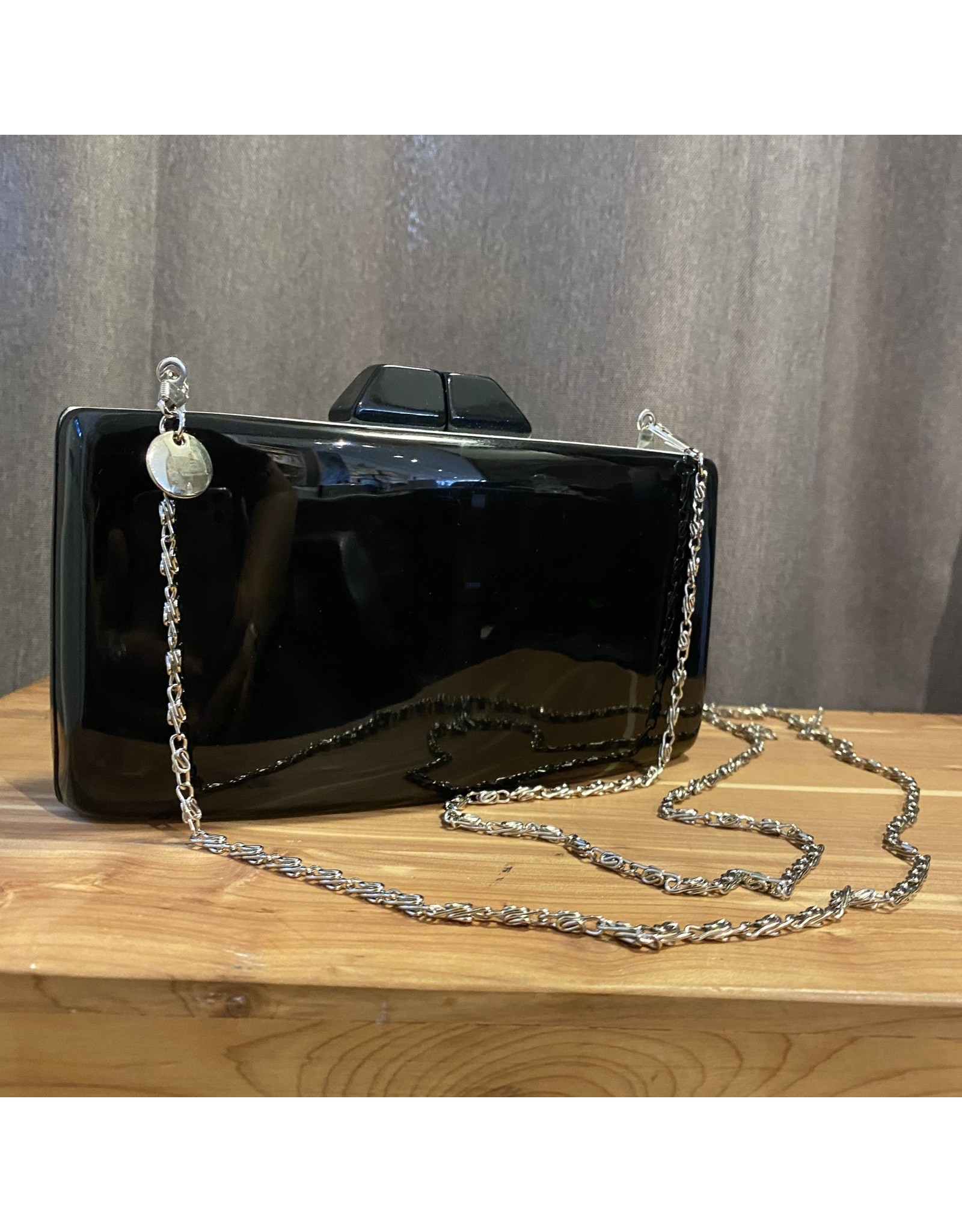 Sea Lily Black Oval Clutch