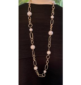 VC Italy 90cm Pearl and Gold Necklace