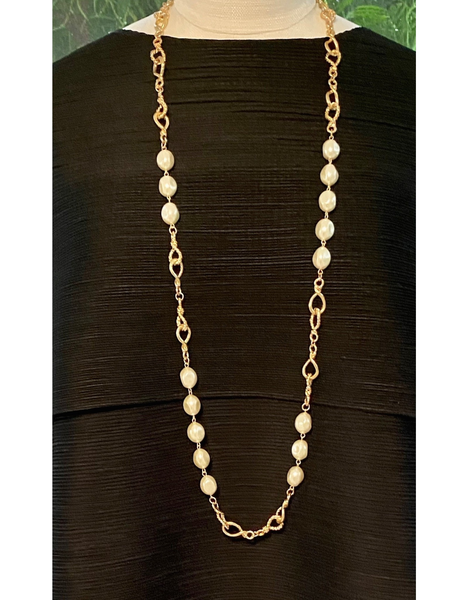 Karin Sultan Gold and Pearl Long Necklace