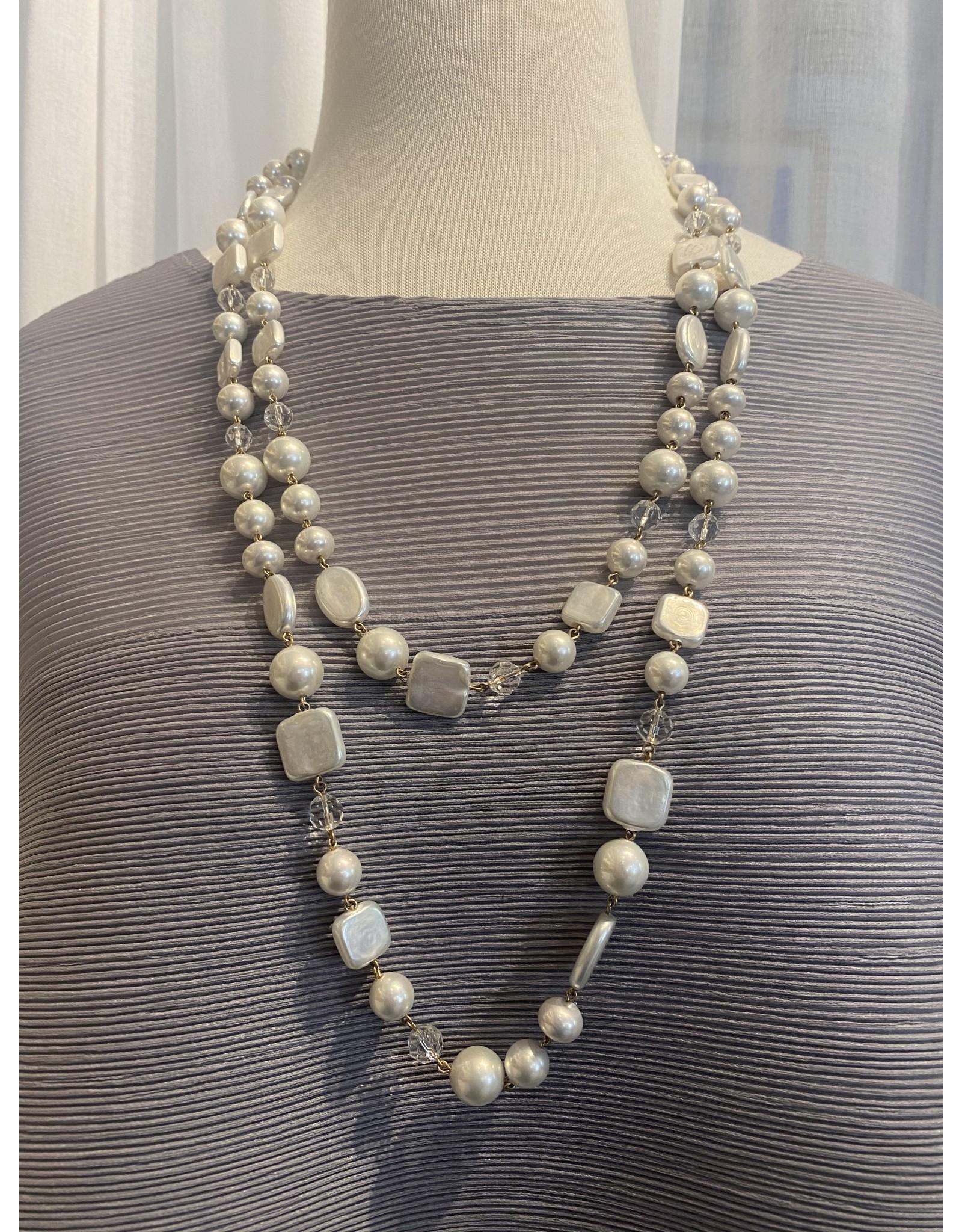 Francoise Montague Mix Pearl w/ Silver Long Necklace