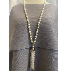 VC Exclusives Long Pearl w/ Metal Accents, Beaded Tassel Pendant
