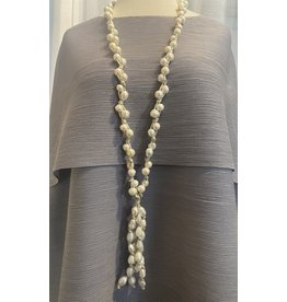 VC Accessories Long Pearl Necklace w/ Leather