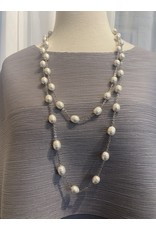 Francoise Montague Water Pearl and Silver Long Necklace
