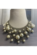 Kenneth Jay Lane Rhodium Mesh w/ White Pearls Drop