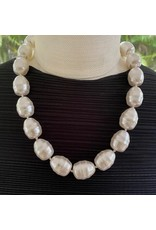 """Kenneth Jay Lane 16"""" White Baroque Pearl w/ Gold Hook"""