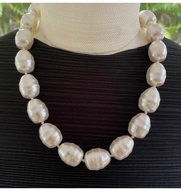 "Kenneth Jay Lane 16"" White Baroque Pearl w/ Gold Hook"
