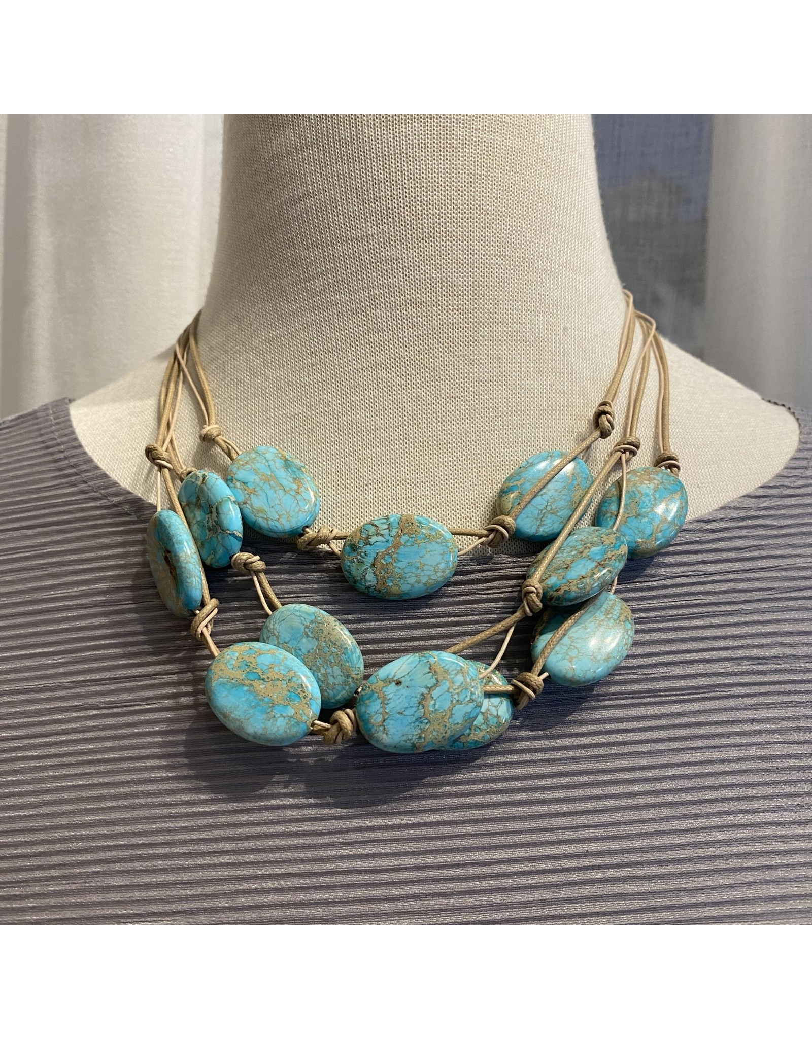 "Deborah Grivas Design Aqua Putty Linen 16"" Necklace"