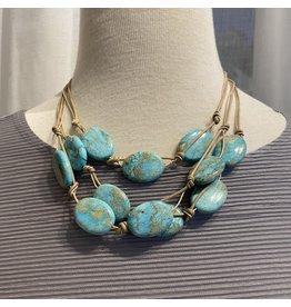 """Deborah Grivas Design Aqua Putty Linen 16"""" Necklace"""