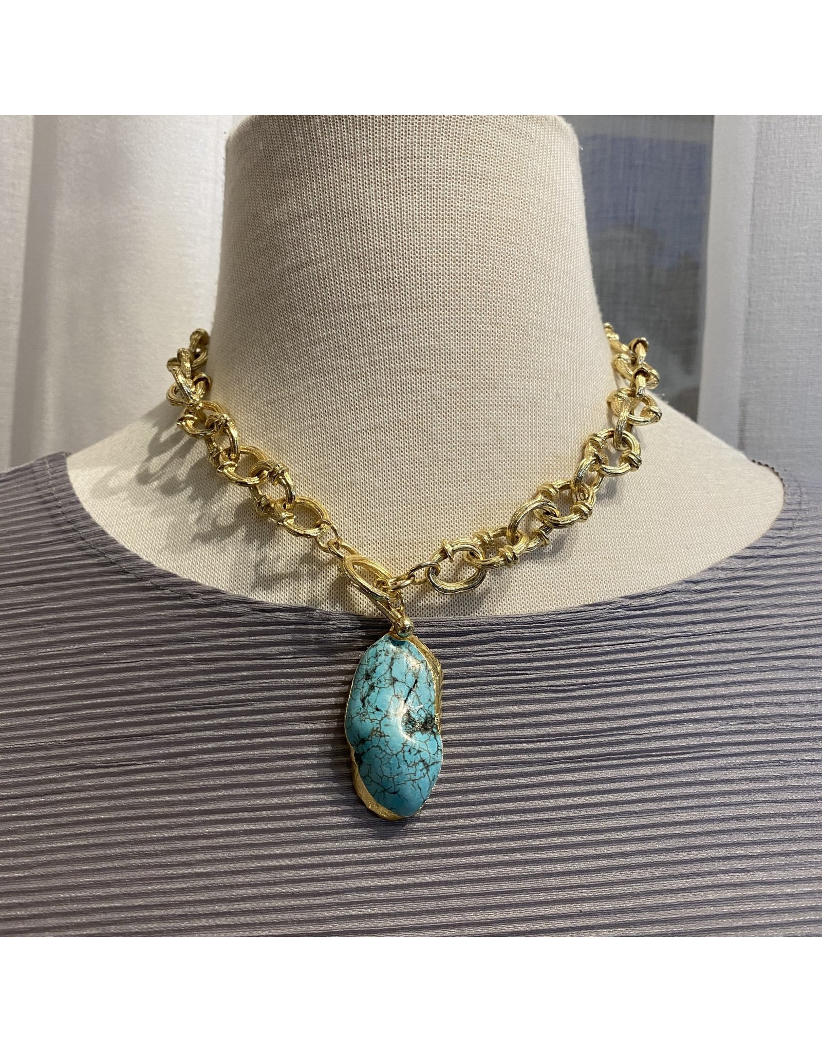 Karin Sultan Gold and Turquoise Necklace