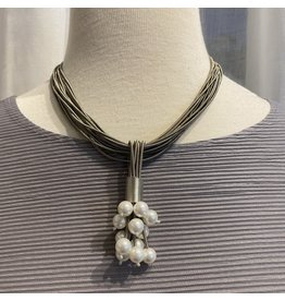 Sea Lily Grey Piano Wire w/ Pearls Necklace