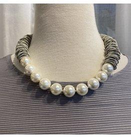 Sea Lily Silver Piano Wire w/ White Pearls