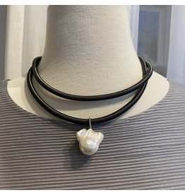 Sea Lily sea/309GN/gunmetal/double/wire/baroque/pearl/pendant