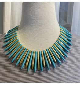 Kenneth Jay Lane Gold and Turquoise Sticks Necklace