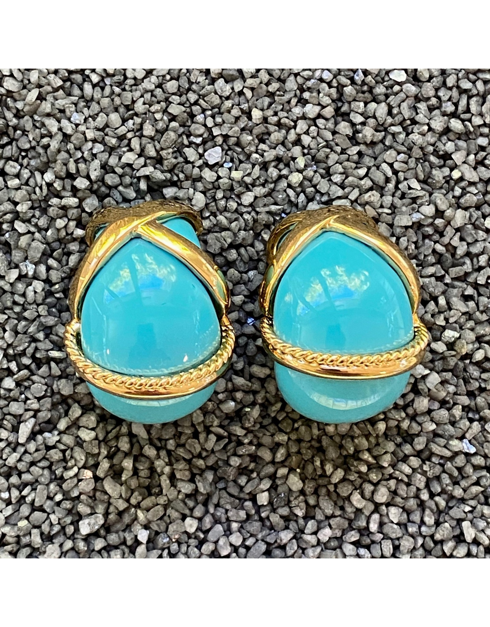 VC Italy Turquoise  and Gold Rope Clip Earring