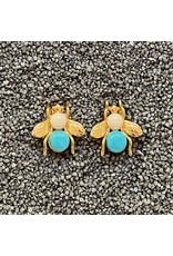 VC Italy Turquoise  and Gold Bee Clip Earring