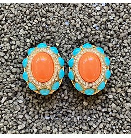 Kenneth Jay Lane Oval Turquoise and Coral Clip Earring