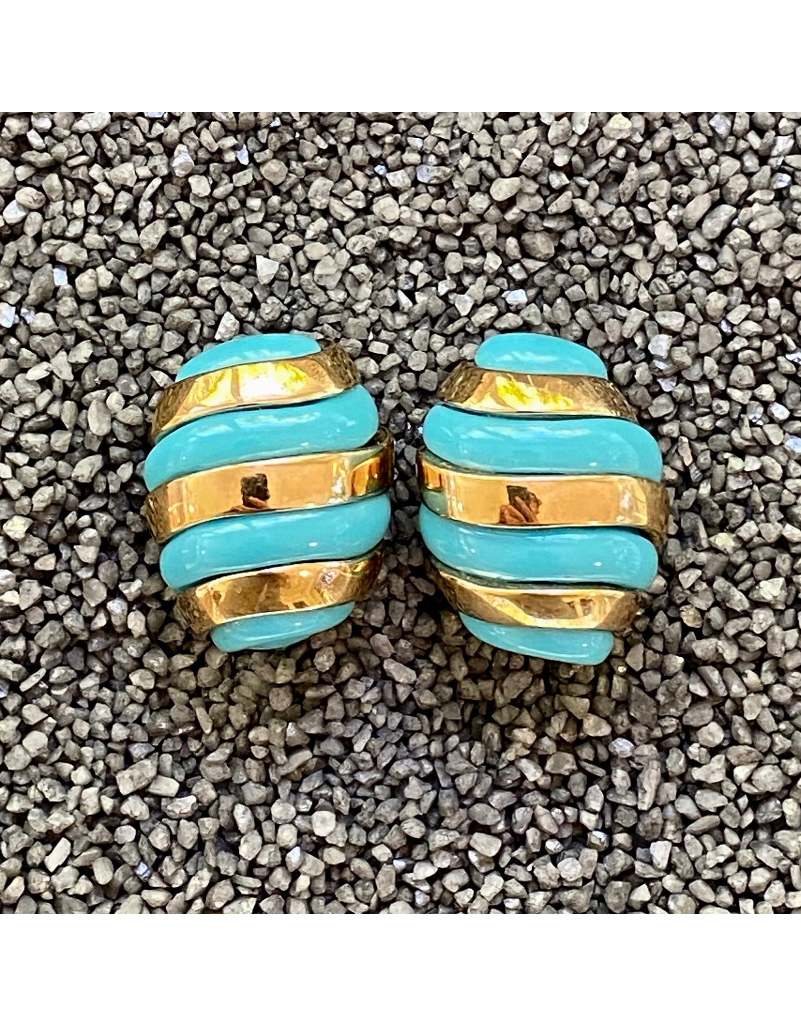 VC Italy Turquoise and Gold Clip Earring