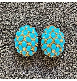 Kenneth Jay Lane Turquoise and Gold Clip Earring
