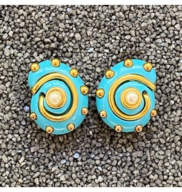 Kenneth Jay Lane Turquoise and Gold Snail w/ Center Pearl