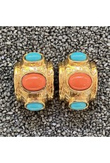 VC Italy Coral, Turquoise and Gold Clip Earring