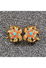 VC Italy Gold w/ Coral and Turquoise Dots Clip Earrings
