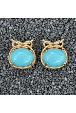 VC Italy Turquoise  and Gold Nautical Knot Clip Earring