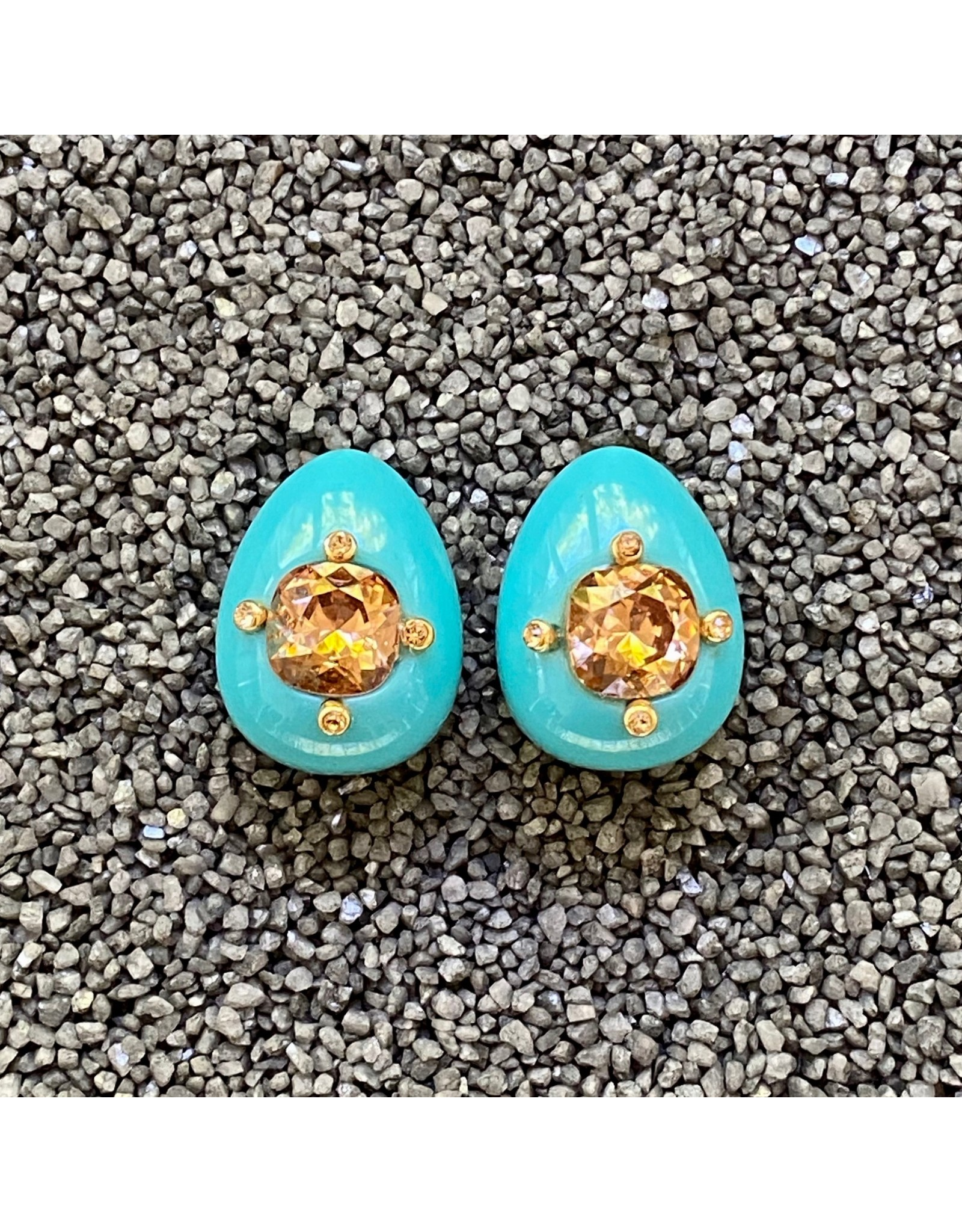 VC Italy Turquoise Tear Shape and Bourbon Stone Clip Earring