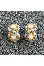 Francoise Montague Huit Silve, Turquoise, White w/ Gold Clip Earring