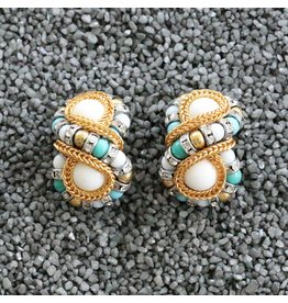 Francoise Montague Huit Silve, Turquoise, White w/ Gold Clip Earring