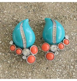 Kenneth Jay Lane Turquoise, Coral and Silver Clip Earring