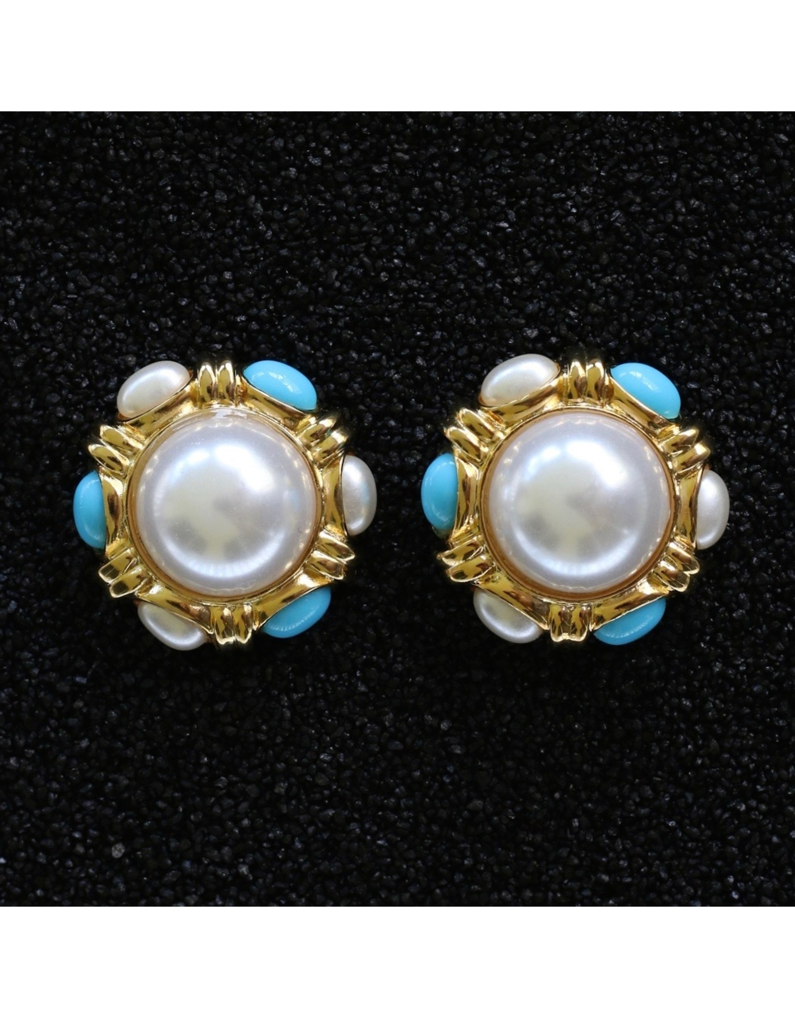 Kenneth Jay Lane Gold, Turquoise and Pearl Button Clip Earring