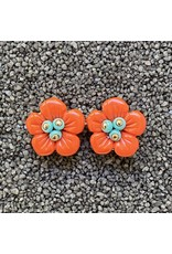 VC Italy Coral Flower w/ Teal Center Clip Earring