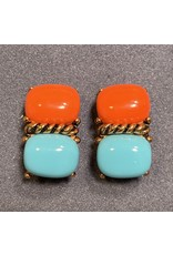 VC Italy Turquoise and Coral Clip Earring