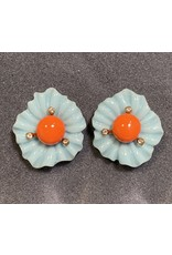 VC Italy Light Turquoise Flower Orange Center Clip Earring