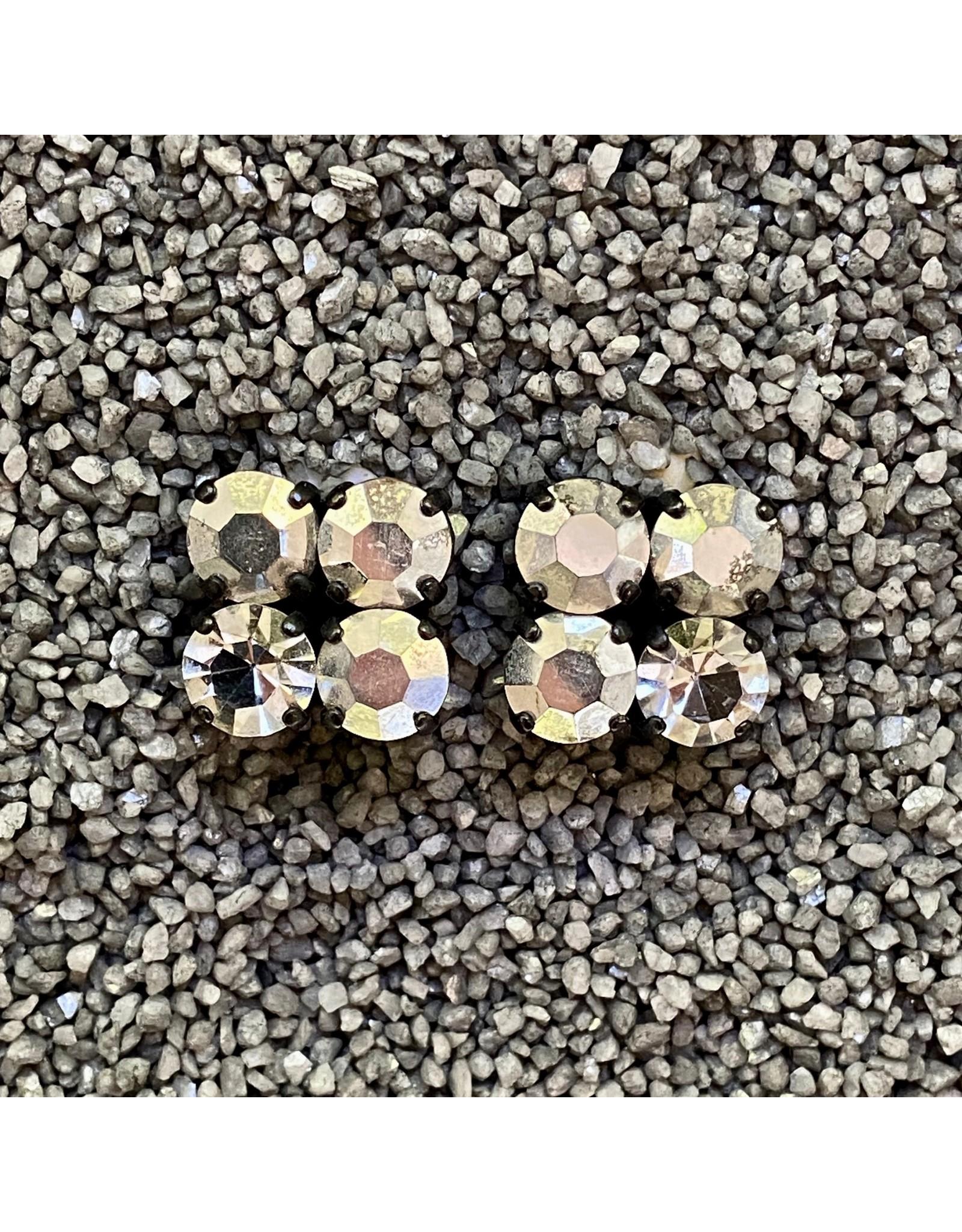 Jean Louis Blinn Labrador 4 Silver Crystals Clip Earring