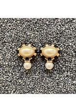 VC Italy Black and Gold w/ Pearl Drop Clip  Earrings