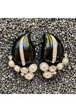Kenneth Jay Lane Black w/ Pearls Clip Earrings